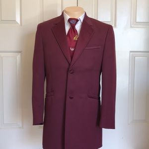 Andrew Fezza Tuxedo Jacket Formal Burgundy Size 45